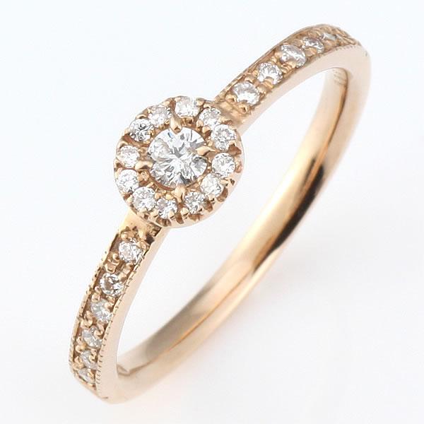 ダイヤモンド リング ダイヤモンドリング 指輪 ピンクゴールド 鑑別書付き 末広 スーパーSALE