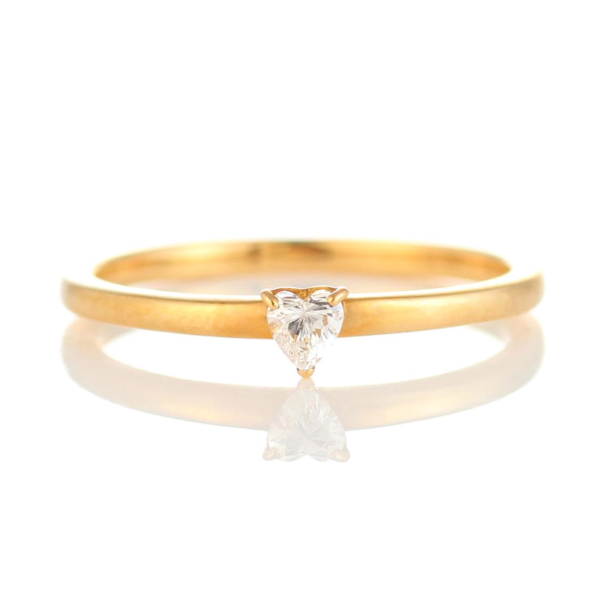 ダイヤモンド リング ハート カット ダイヤモンドリング 指輪 イエローゴールド