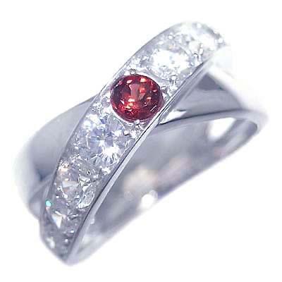 ガーネット ( 1月誕生石 ) プラチナガーネット・ダイヤモンドリング