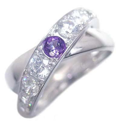 アメジスト ( 2月誕生石 ) プラチナアメジスト・ダイヤモンドリング