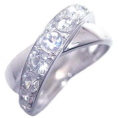 ムーンストーン ( 6月誕生石 ) プラチナムーンストーン・ダイヤモンドリング