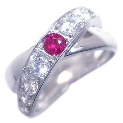 ルビー ( 7月誕生石 ) プラチナルビー・ダイヤモンドリング