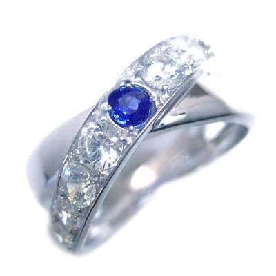 サファイア サファイヤ ( 9月誕生石 ) プラチナサファイア・ダイヤモンドリング
