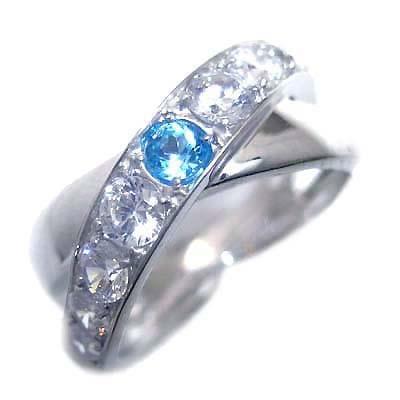 トパーズ ( 11月誕生石 ) プラチナブルートパーズ・ダイヤモンドリング