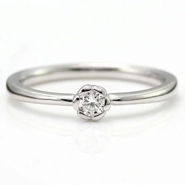 婚約指輪 エンゲージリング ダイヤモンド プラチナ リング 花びら