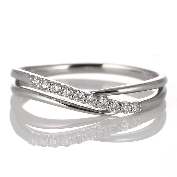 結婚10周年 スイート 10粒 ダイヤモンド プラチナリング 結婚記念 2連リング プレゼント
