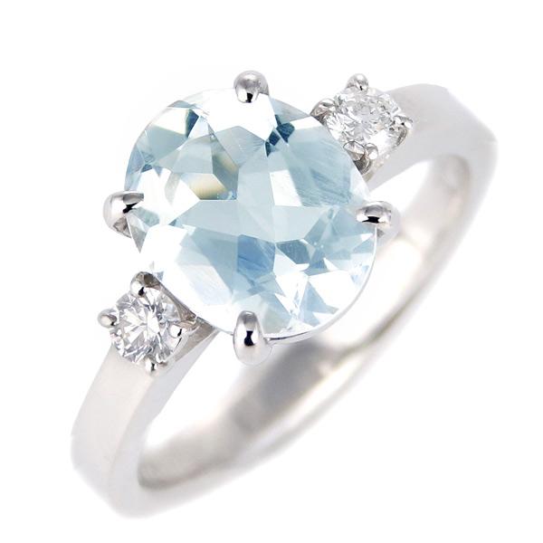 アクアマリン ダイヤモンド リング レディース プラチナ 3月 誕生石 指輪