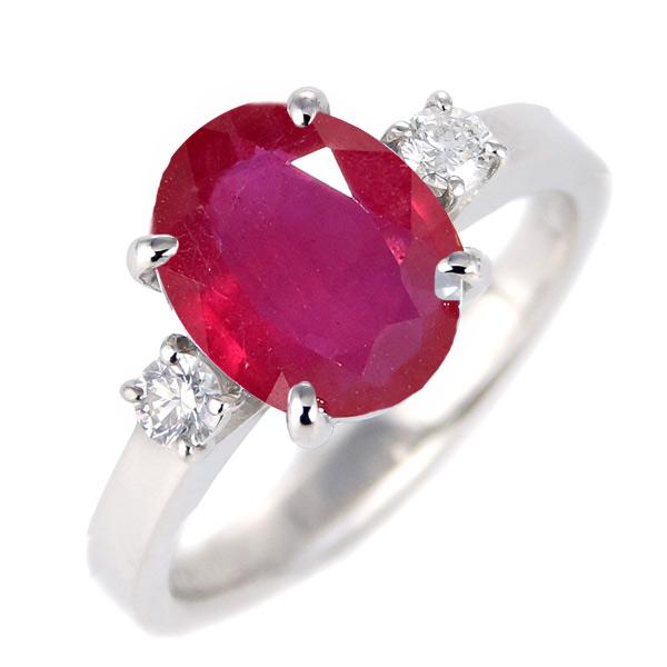 ルビー ダイヤモンド リング レディース プラチナ 7月 誕生石 指輪