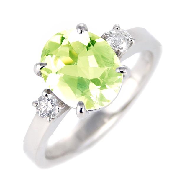 ペリドット ダイヤモンド リング レディース プラチナ 8月 誕生石 指輪