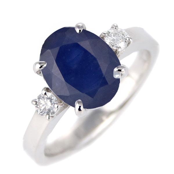 サファイア ダイヤモンド リング レディース プラチナ 9月 誕生石 指輪