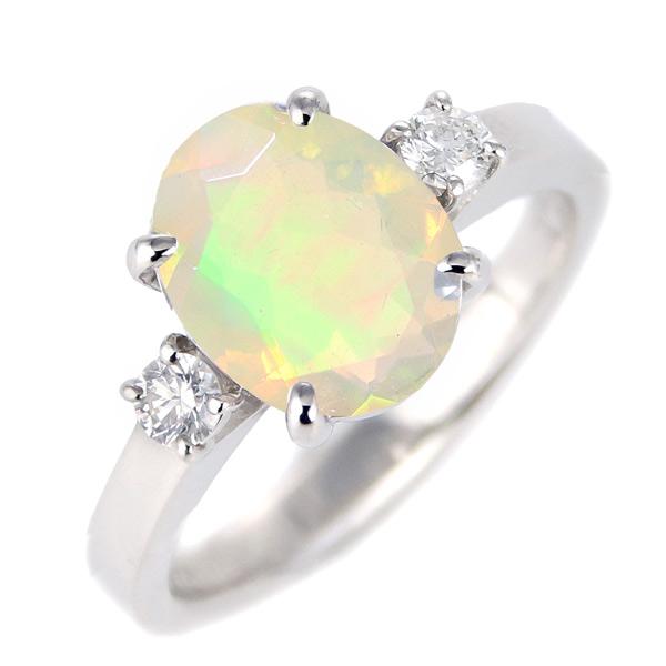 オパール ダイヤモンド リング レディース プラチナ 10月 誕生石 指輪