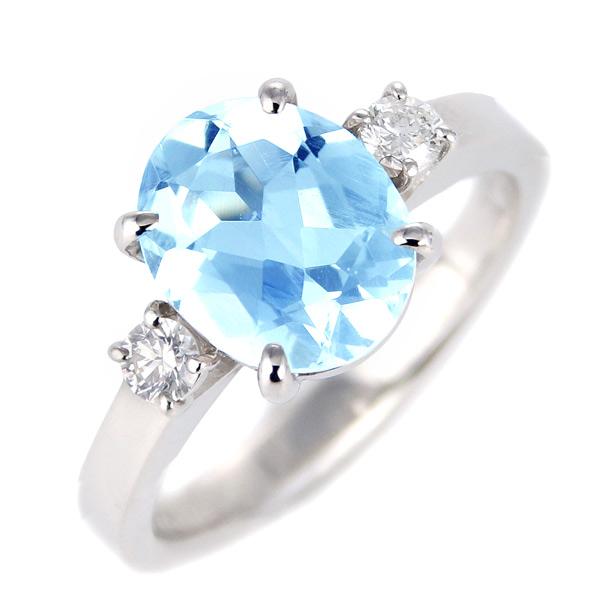ブルートパーズ ダイヤモンド リング レディース プラチナ 11月 誕生石 指輪