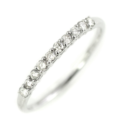K10ホワイトゴールドダイヤモンドエタニティリング(一文字)
