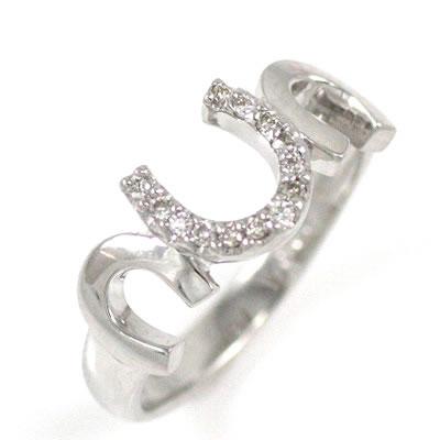 K18ホワイトゴールドダイヤモンドリング(馬蹄モチーフ) 【DEAL】