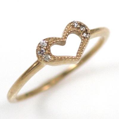 ( Brand Jewelry me. ) K18ピンクゴールドダイヤモンドピンキーリング(ハートモチーフ) 【DEAL】