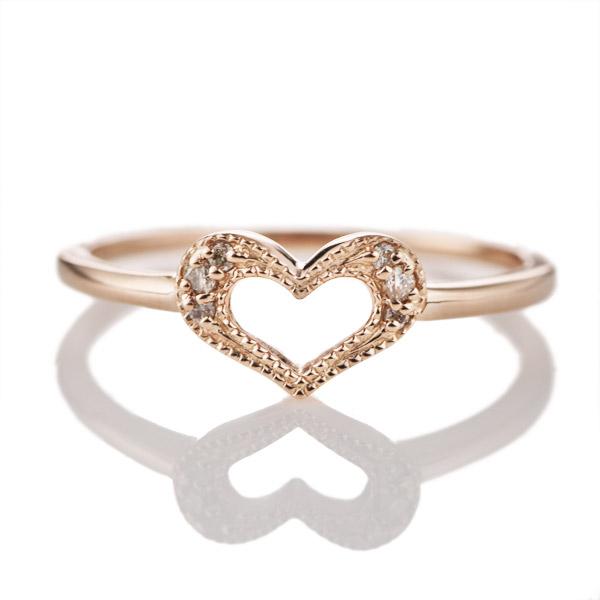 ハート K18ピンクゴールドダイヤモンドリング(ハートモチーフ)