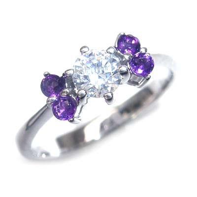 ( 婚約指輪 ) ダイヤモンド プラチナエンゲージリング( 2月誕生石 ) アメジスト【DEAL】 末広 スーパーSALE
