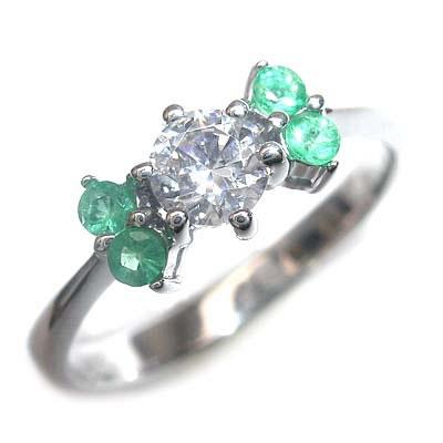 ( 婚約指輪 ) ダイヤモンド プラチナエンゲージリング( 5月誕生石 ) エメラルド 【DEAL】