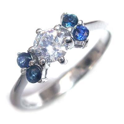 ( 婚約指輪 ) ダイヤモンド プラチナエンゲージリング( 9月誕生石 ) サファイア 【DEAL】 末広 スーパーSALE【今だけ代引手数料無料】