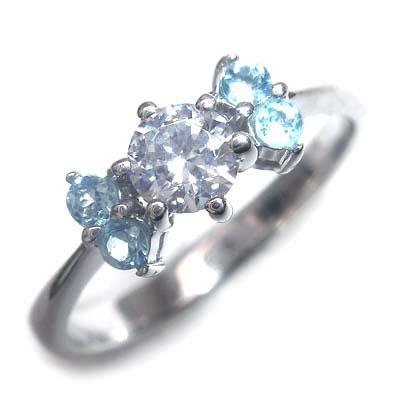 ( 婚約指輪 ) ダイヤモンド プラチナエンゲージリング( 11月誕生石 ) ブルートパーズ