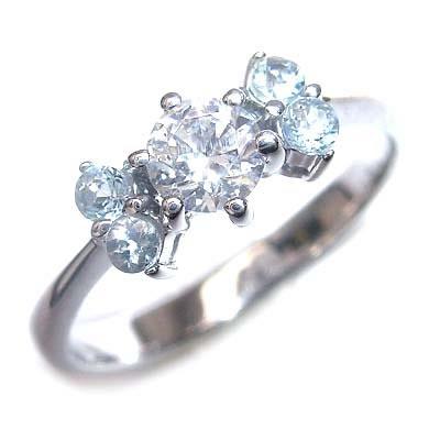 ( 婚約指輪 ) ダイヤモンド プラチナエンゲージリング( 3月誕生石 ) アクアマリン 【DEAL】