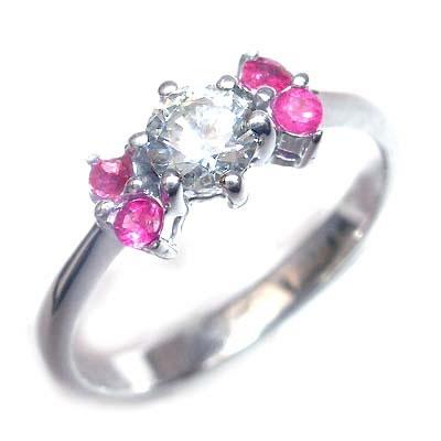 ( 婚約指輪 ) ダイヤモンド プラチナエンゲージリング( 7月誕生石 ) ルビー 【DEAL】