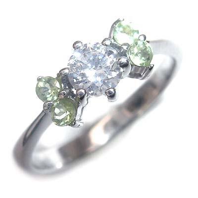 ( 婚約指輪 ) ダイヤモンド プラチナエンゲージリング( 8月誕生石 ) ペリドット 【DEAL】
