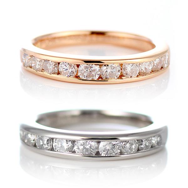 エタニティ ダイヤモンド プラチナ ピンクゴールド エタニティ リング 1カラット 結婚 10周年記念