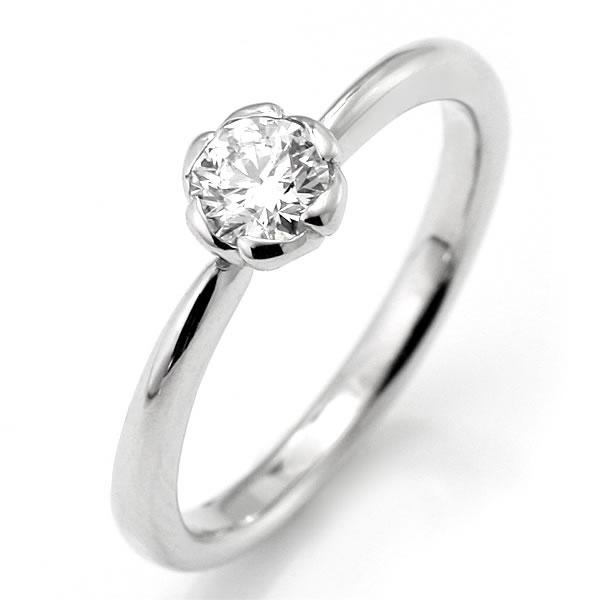 フラワー 婚約指輪 エンゲージリング ダイヤモンド プラチナ リング 花びら ソリティア 一粒