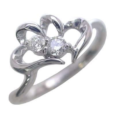ダイヤモンド ダイヤ ( 4月誕生石 ) K10ホワイトゴールド ダイヤモンドリング(ハートモチーフ)【DEAL】
