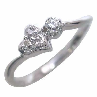 ダイヤモンド ダイヤ ( 4月誕生石 ) K10ホワイトゴールド ダイヤモンドリング(ハートモチーフ) 末広 スーパーSALE【今だけ代引手数料無料】