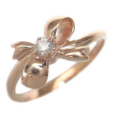 ダイヤモンド ダイヤ ( 4月誕生石 ) K18ピンクゴールド ダイヤモンドリング(リボンモチーフ)