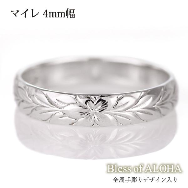 ハワイアンジュエリー メンズ リング 人気 シルバー 幅約4mm 指輪 ファッション デザイン マイレ