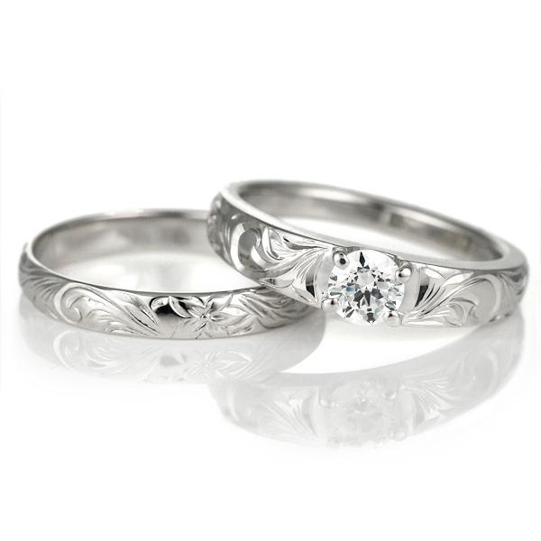 ハワイアンジュエリー 結婚指輪 鑑定書付き ハワイアン ダイヤモンド リング 一粒 大粒 指輪 SI ホワイトゴールドK18 ハワイアンリング 18金 K18WG