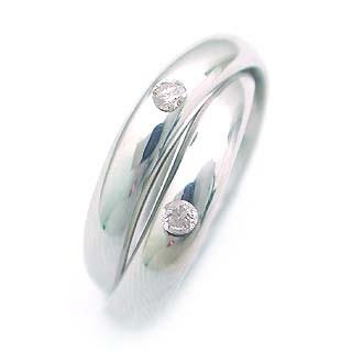 ダイヤモンド ダイヤ ( 4月誕生石 ) K18WG ダイヤモンドデザイン2連リング