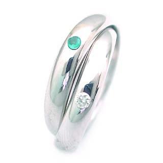 エメラルド 5月誕生石 K18WG エメラルド・ダイヤモンド2連リング