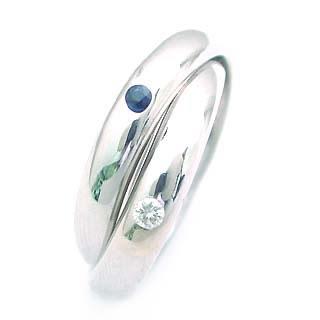 サファイア サファイヤ ( 9月誕生石 ) K18WG サファイア・ダイヤモンド2連リング
