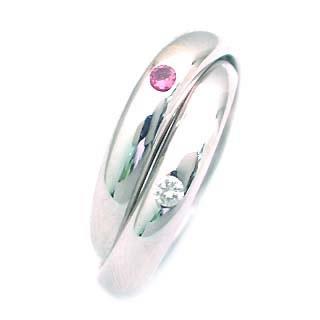 10月誕生石 ピンクトルマリン K18WG ピンクトルマリン・ダイヤモンド2連リング