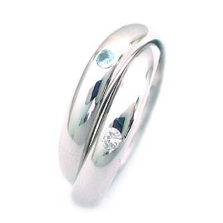 トパーズ ( 11月誕生石 ) K18WG ブルートパーズ・ダイヤモンド2連リング