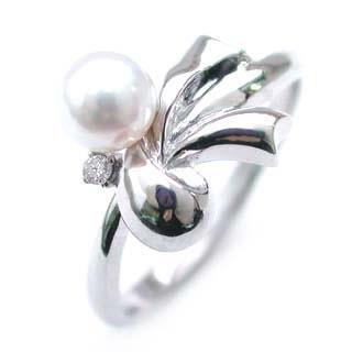 ダイヤモンド ダイヤ ( 4月誕生石 ) K18WG ダイヤモンド・パールリング
