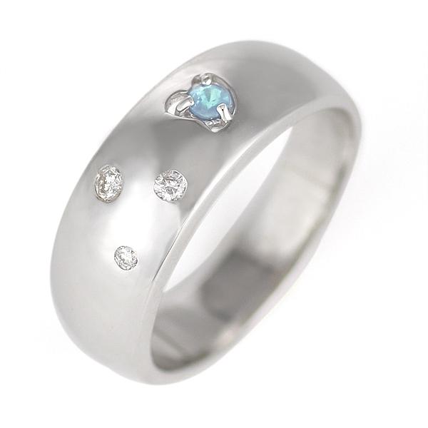 アクアマリン ( 3月誕生石 ) K18WG アクアマリン・ダイヤモンドリング