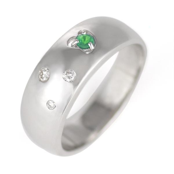 エメラルド 5月誕生石 K18WG エメラルド・ダイヤモンドリング