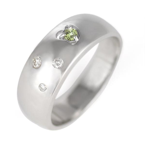 ペリドット ( 8月誕生石 ) K18WG ペリドット・ダイヤモンドリング