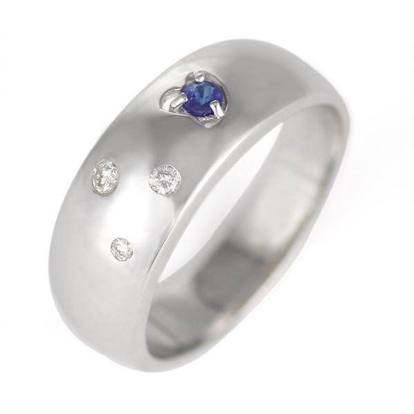 サファイア サファイヤ ( 9月誕生石 ) K18WG サファイア・ダイヤモンドリング