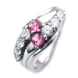 10月誕生石 ピンクトルマリン Pt ピンクトルマリン・ダイヤモンドリング(結婚10周年記念 )【DEAL】