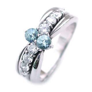 アクアマリン ( 3月誕生石 ) Pt アクアマリン・ダイヤモンドリング(結婚10周年記念 ) 末広 スーパーSALE【今だけ代引手数料無料】