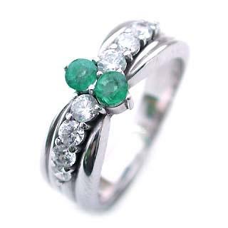 エメラルド 5月誕生石 Pt エメラルド・ダイヤモンドリング(結婚10周年記念 )