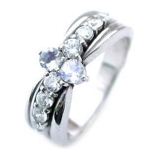 ムーンストーン ( 6月誕生石 ) Pt ムーンストーン・ダイヤモンドリング(結婚10周年記念 )