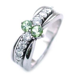 ペリドット ( 8月誕生石 ) Pt ペリドット・ダイヤモンドリング(結婚10周年記念 )
