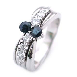 サファイア サファイヤ ( 9月誕生石 ) Pt サファイア・ダイヤモンドリング(結婚10周年記念 )
